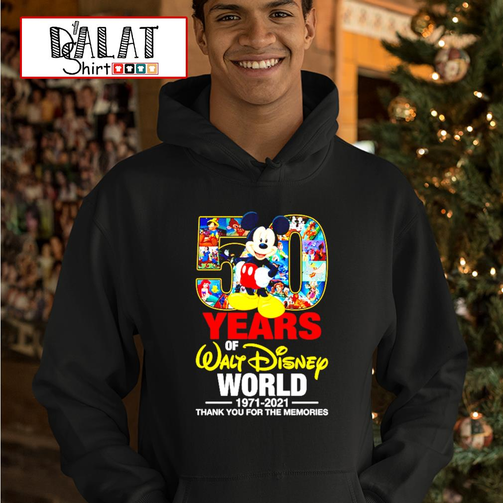 50 years of Walt Disney world 1971-2021 thank you for the memories hoodie