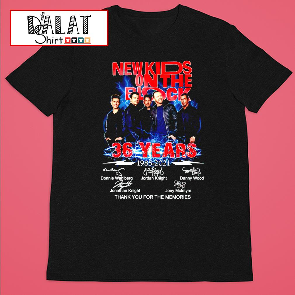 New Kids On The Block 36 years 1985-2021 signature thank you for the memories shirt