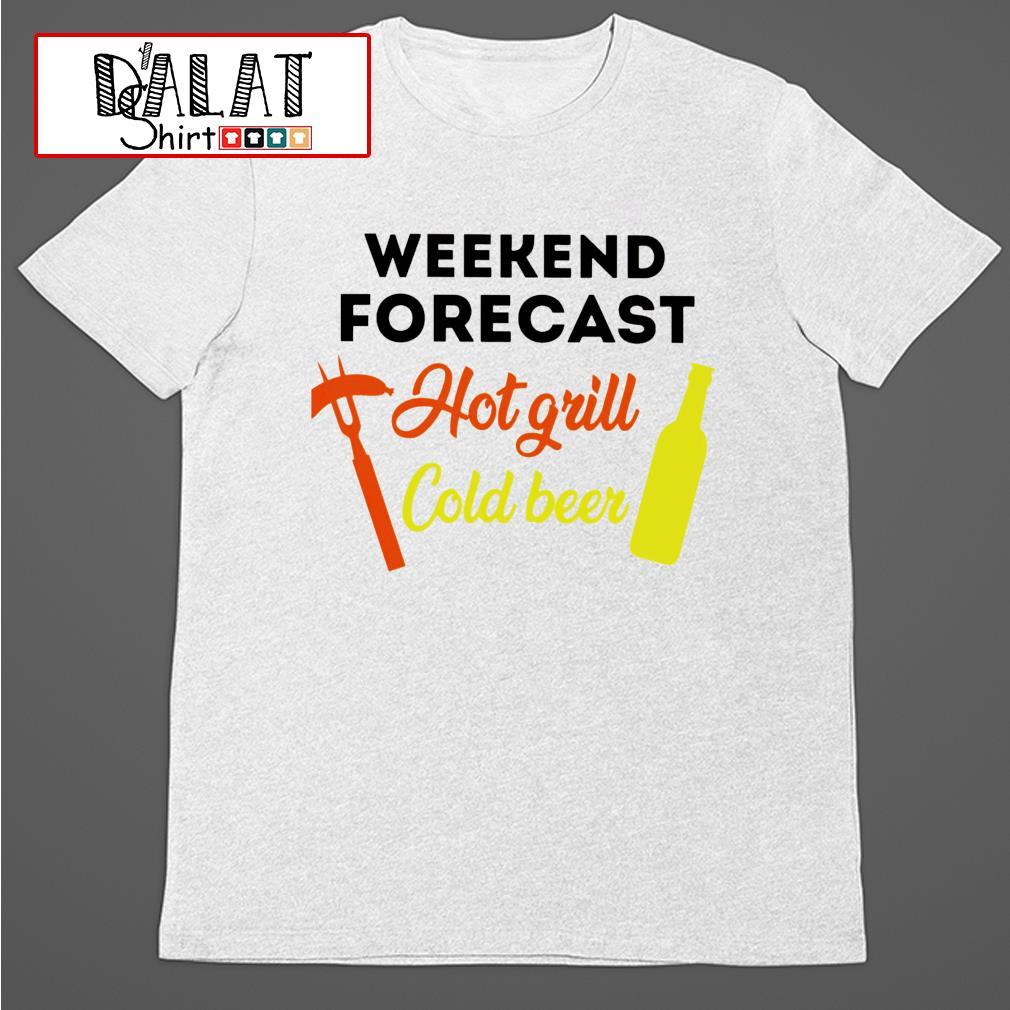 BBQ weekend forecast cold beer shirt