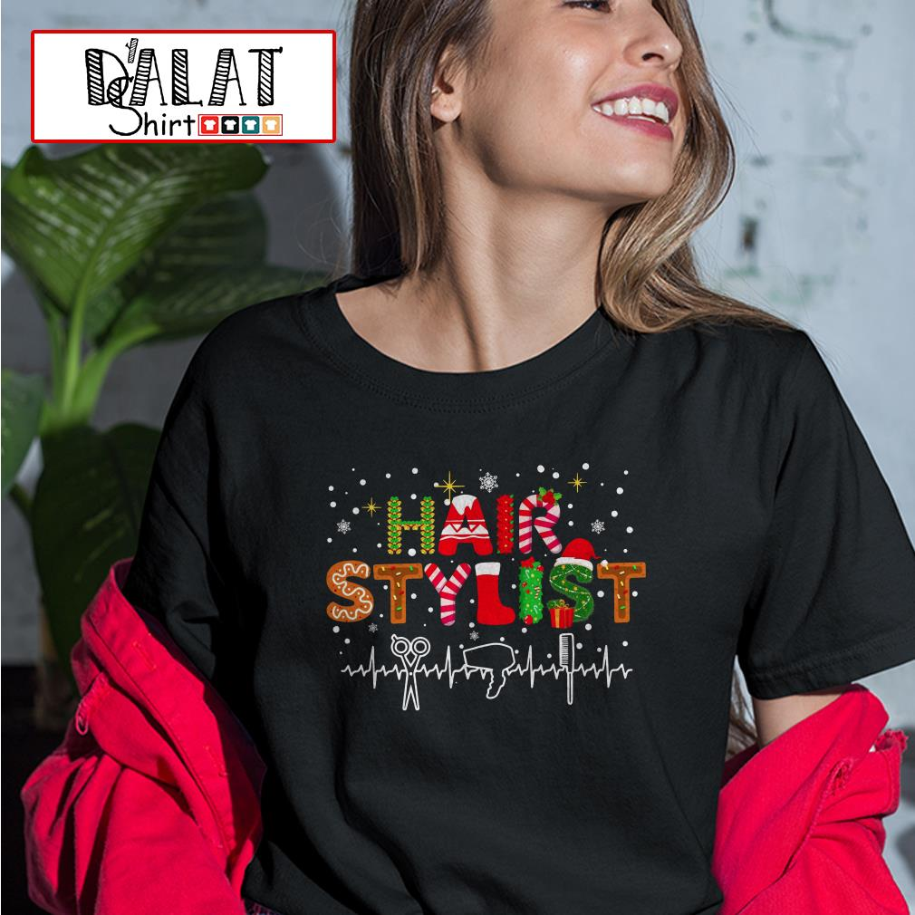 Christmas hair stylist heartbeat Ladies tee