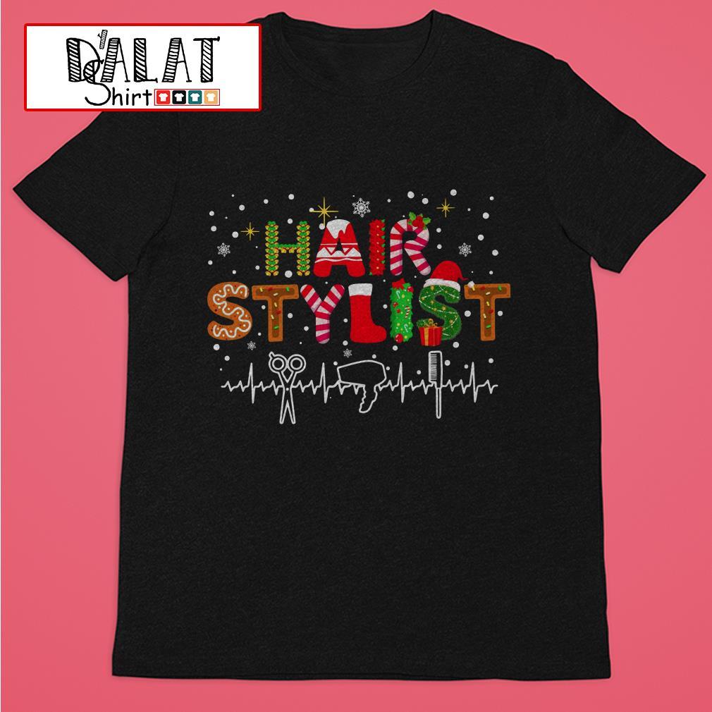 Christmas hair stylist heartbeat Shirt