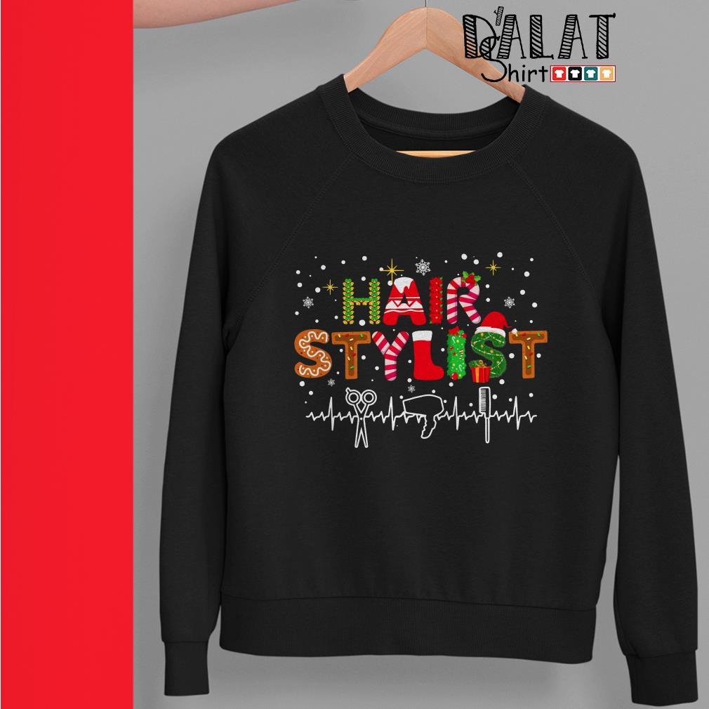 Christmas hair stylist heartbeat sweater