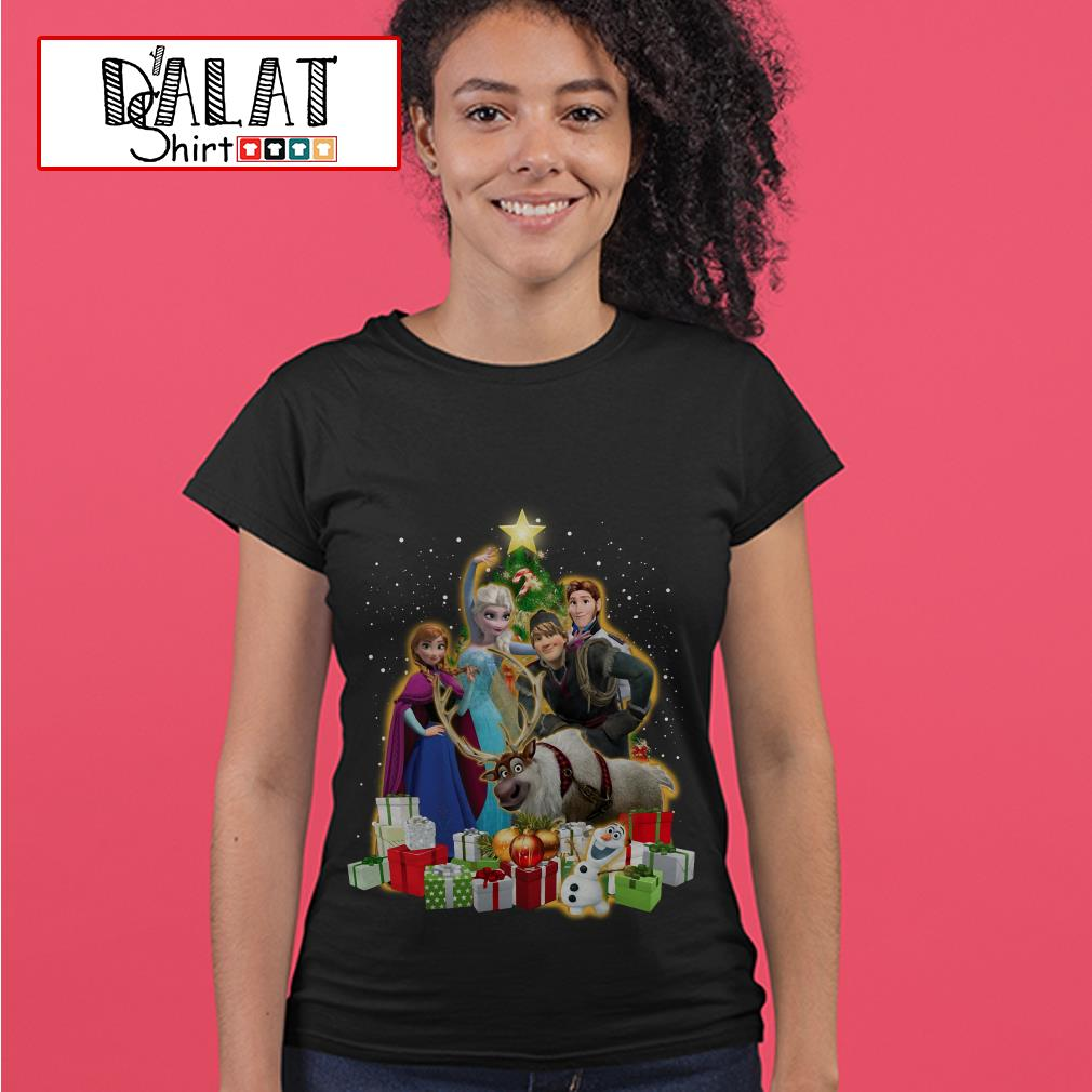 Disney Frozen characters Christmas tree Ladies tee