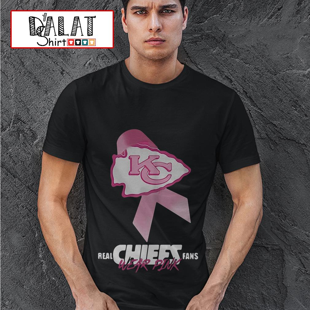 Kansas City Chiefs Real Chiefs fans wear pink breast cancer shirt
