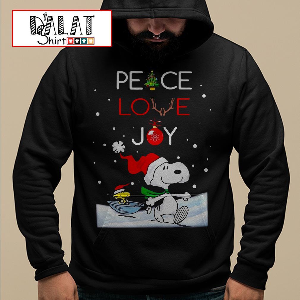 Christmas Snoopy and Woodstock peace love Joy Hoodie