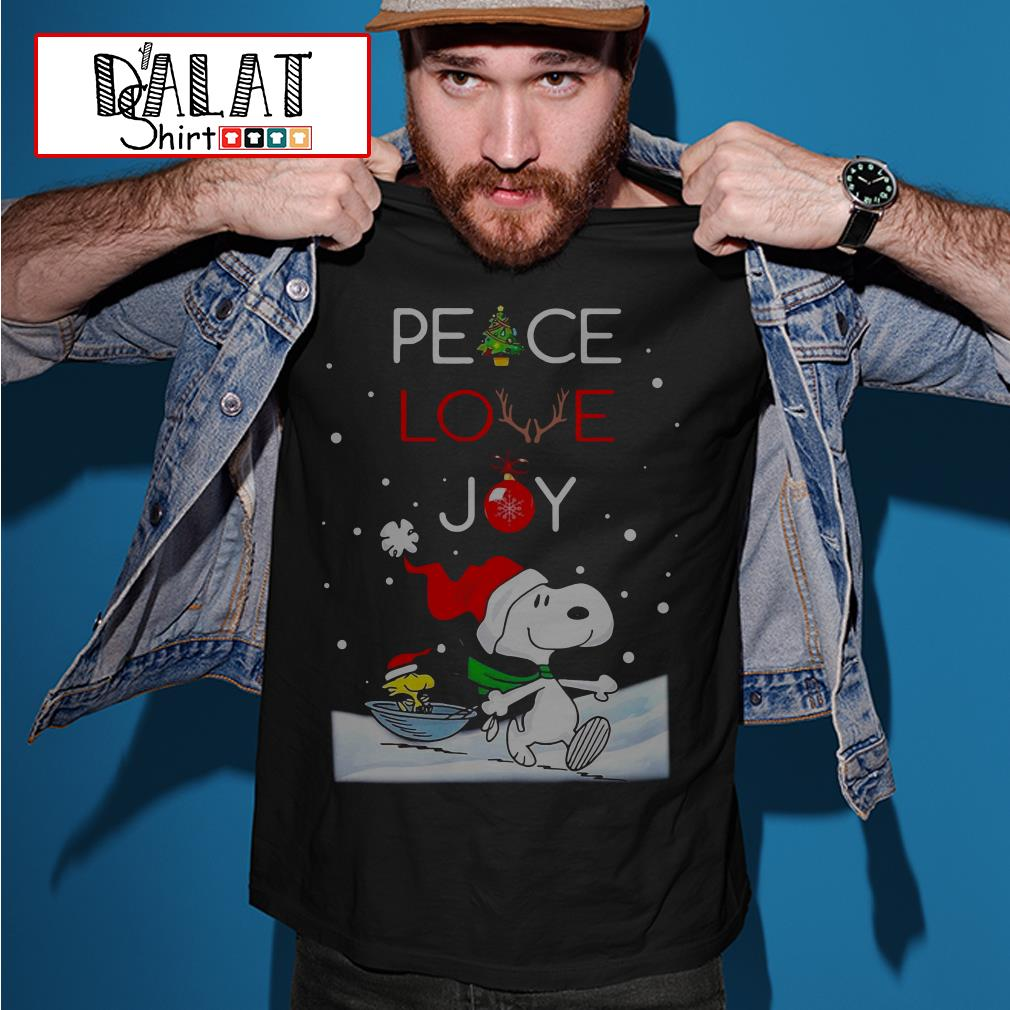 Christmas Snoopy and Woodstock peace love Joy Shirt