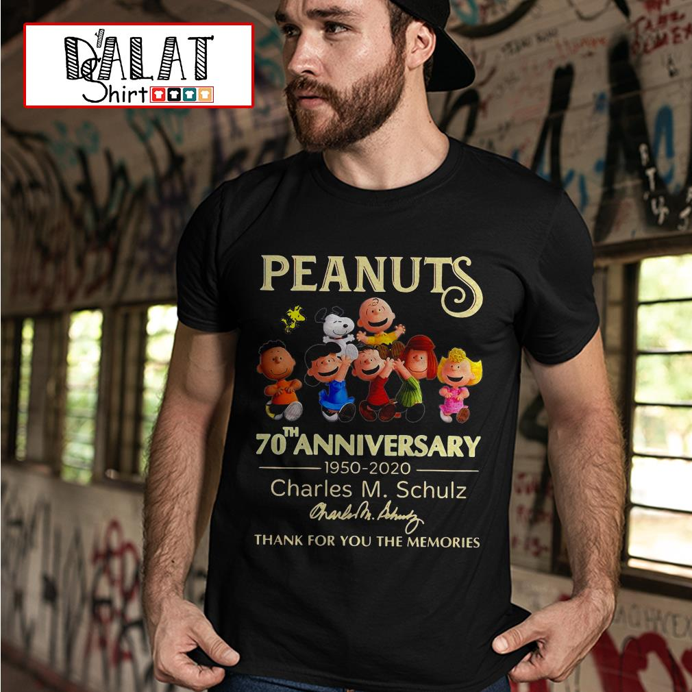 70th anniversary 1950 2020 Charles M. Schulz thank you for the memories shirt