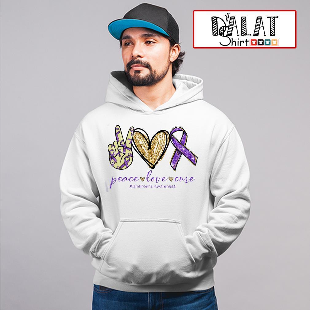 Peace love cure Alzheimer's Awareness Hoodie