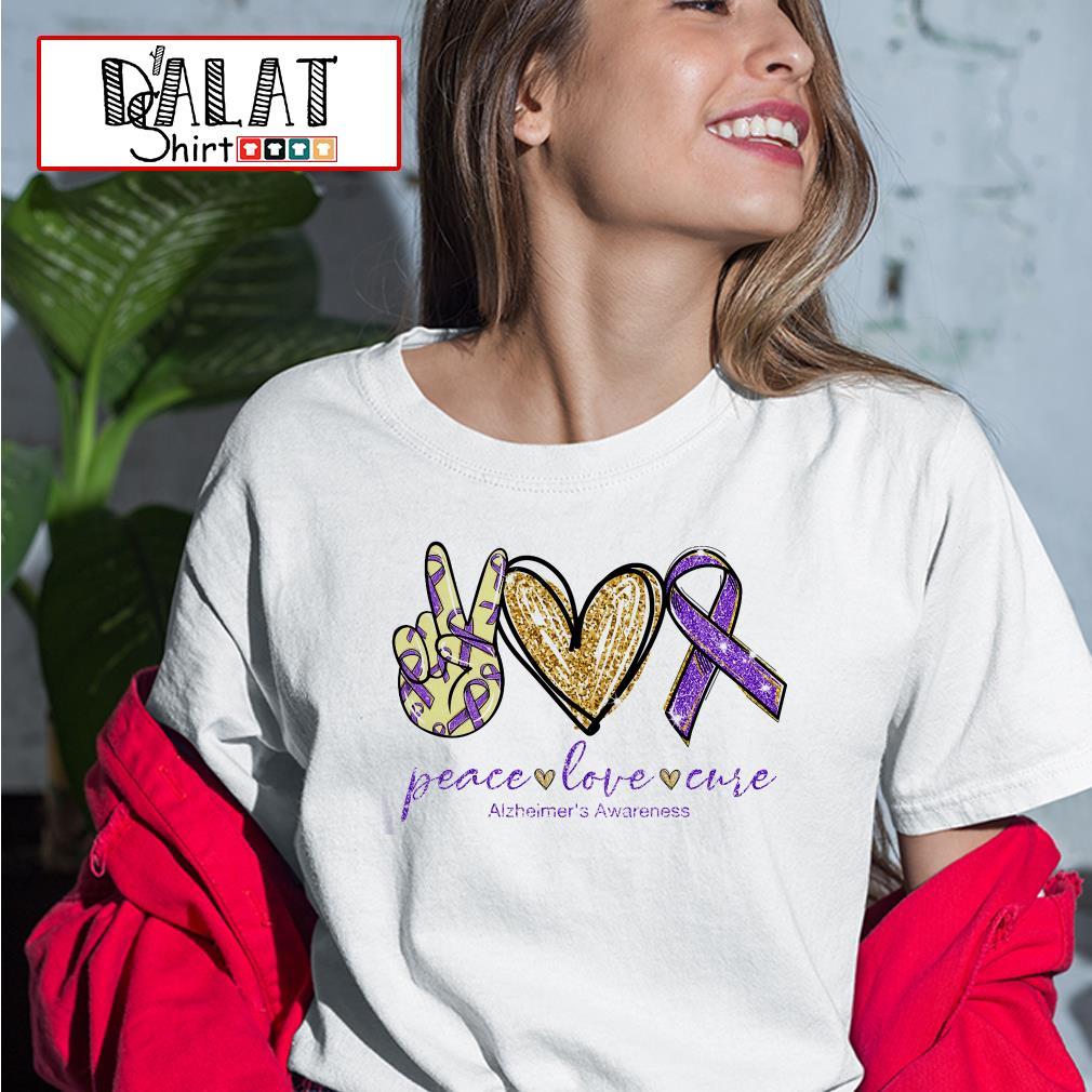 Peace love cure Alzheimer's Awareness Ladies tee