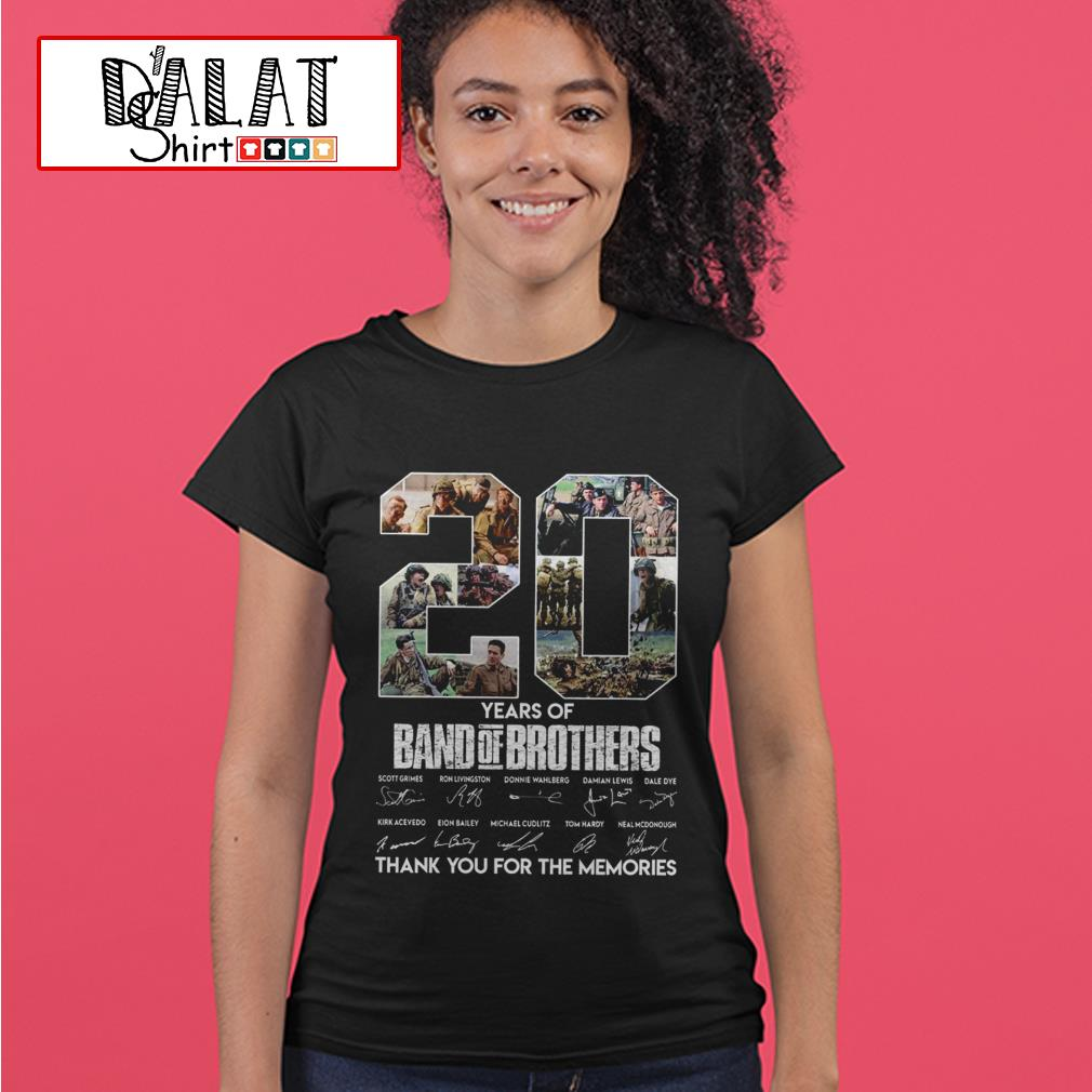 20 years of Band of Brothers thank you for the memories signatures Ladies tee
