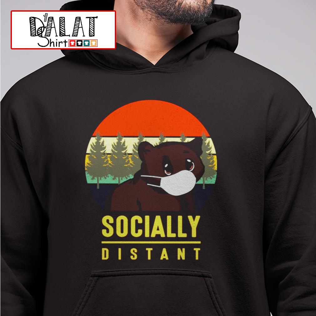 Bear mask socially distant vintage Hoodie