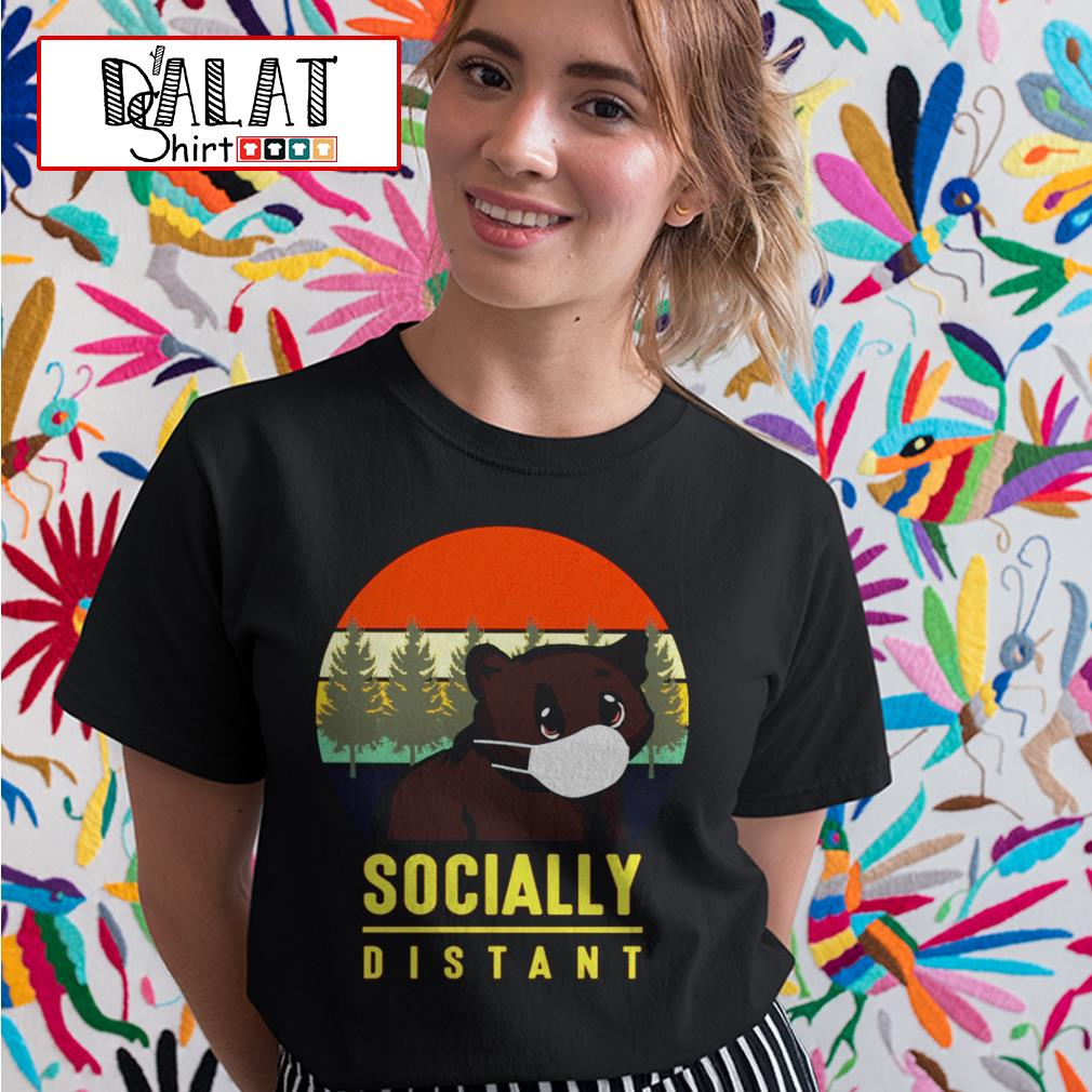 Bear mask socially distant vintage Ladies tee