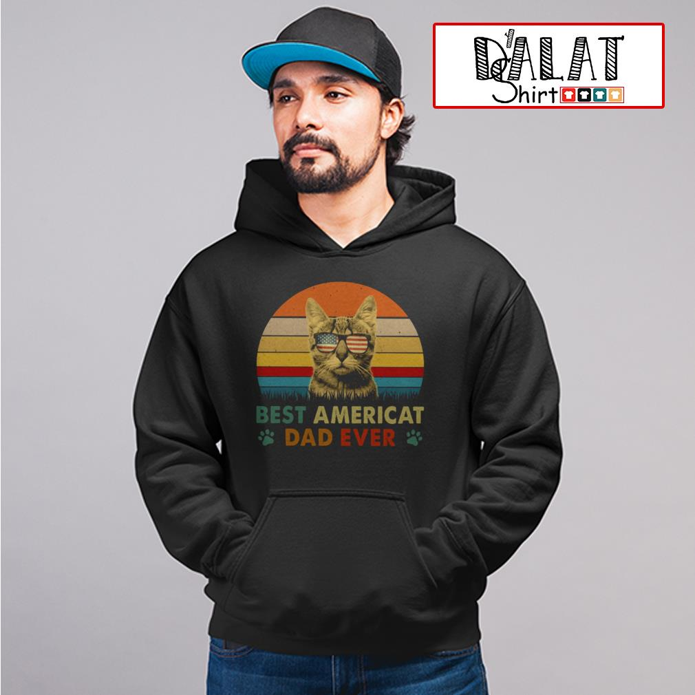Glasses American flag best Americat dad ever vintage Hoodie