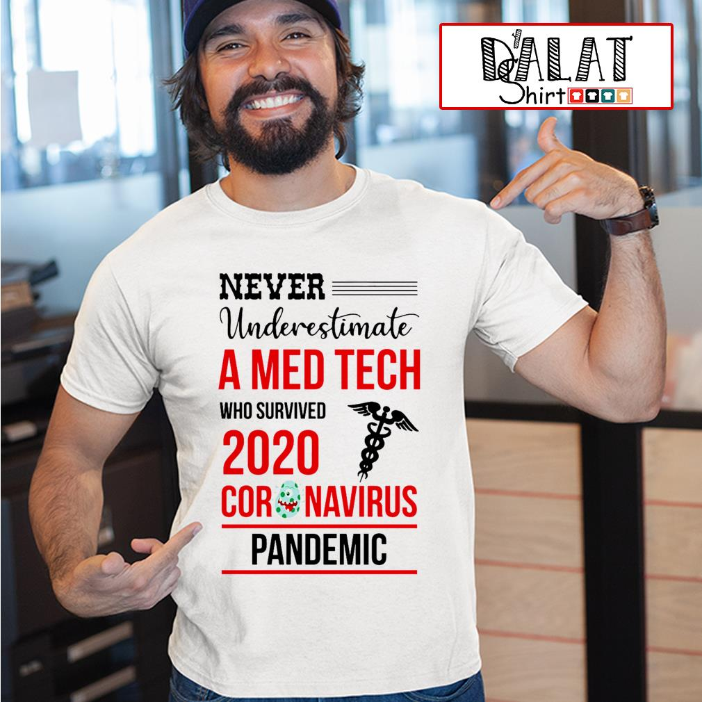 Never underestimate a Med Tech who survived 2020 coronavirus pandemic shirt