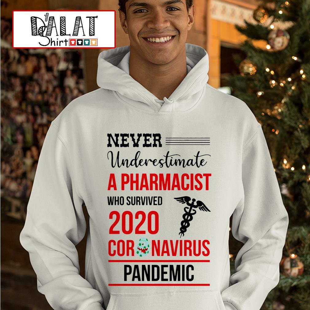 Never underestimate a Pharmacist who survived 2020 coronavirus pandemic Hoodie
