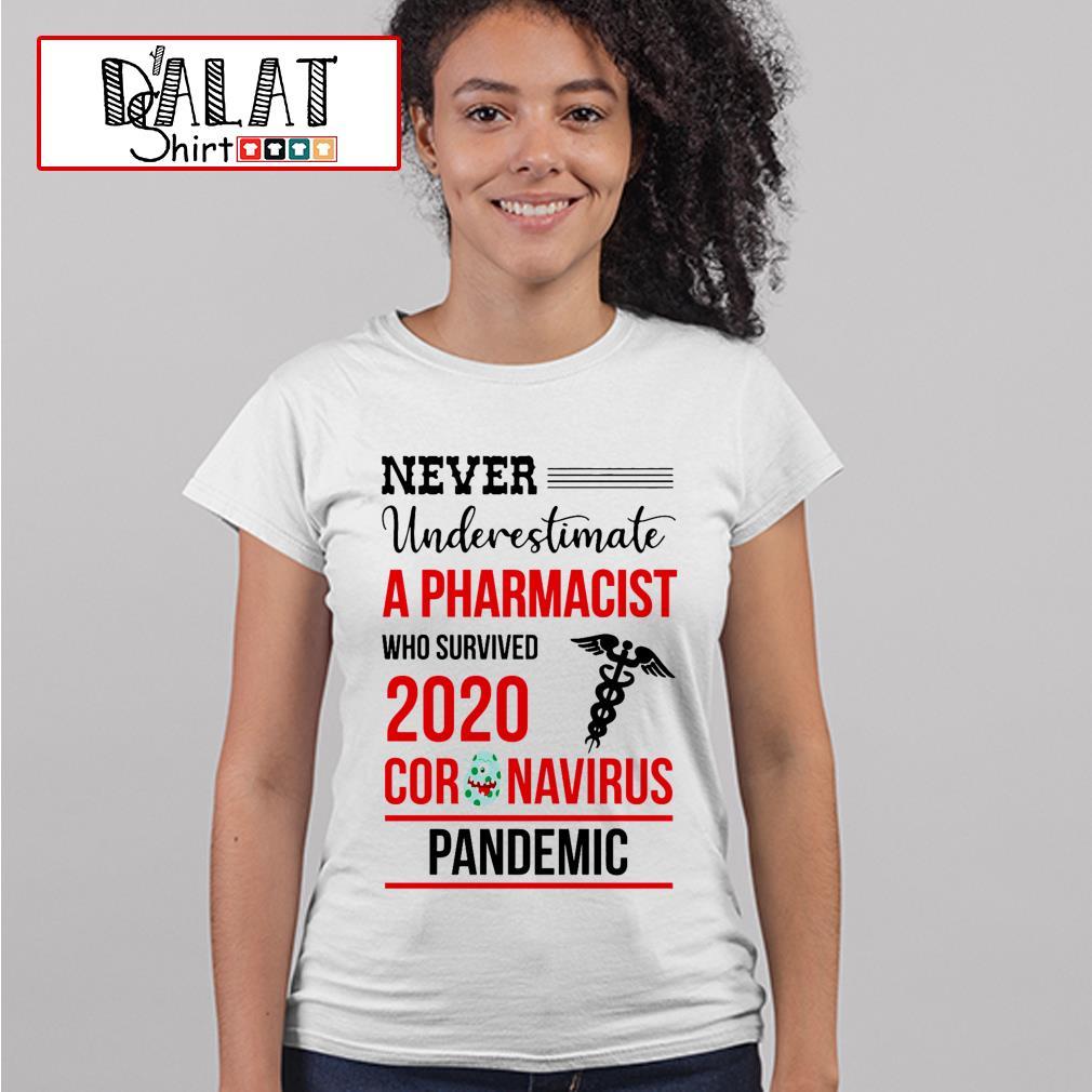 Never underestimate a Pharmacist who survived 2020 coronavirus pandemic Ladies tee