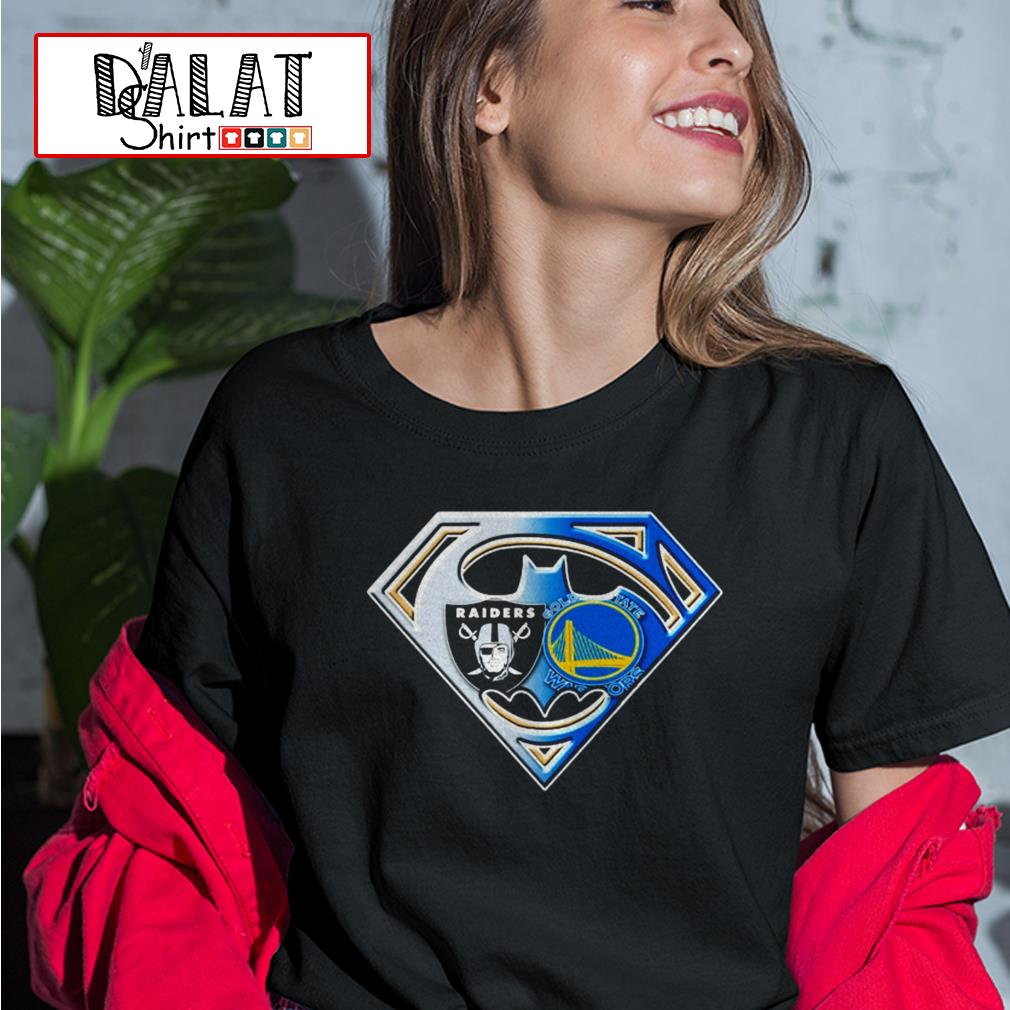 Oakland Raiders and Golden State Warriors inside me superman Ladies tee