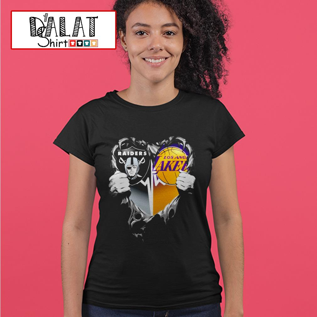 Oakland Raiders and Los Angeles Lakers inside heart Ladies tee