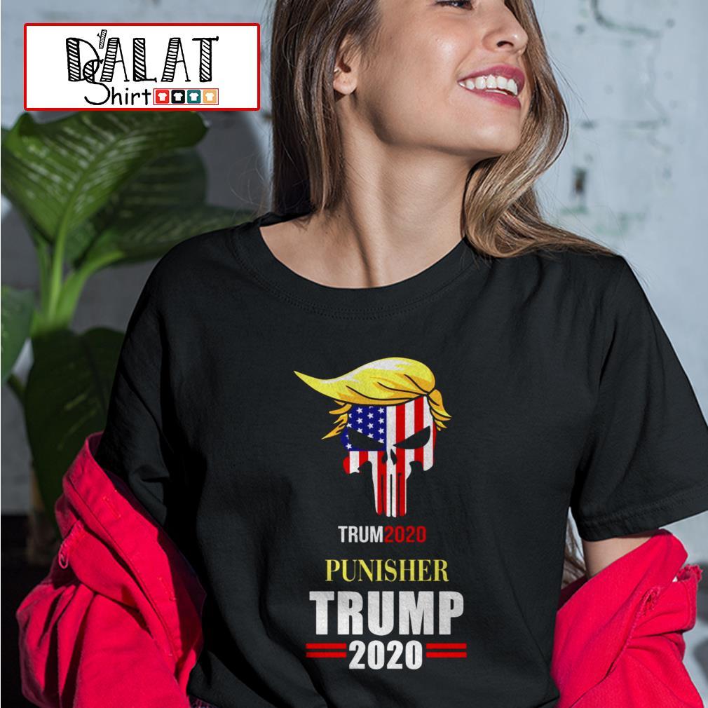 Skull America flag Punisher Trump 2020 Ladies tee
